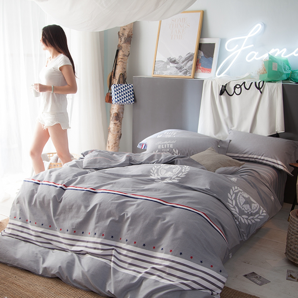 grey cotton 100 duvet cover setstripes bed sheets pillow case for menwomen queen king size bedding sets modern bed linens