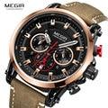 Megir мужские спортивные 24 часа часы военный хронограф кожаный ремешок 3atm водонепроницаемые кварцевые наручные часы мужские Relogios 2085 Rose