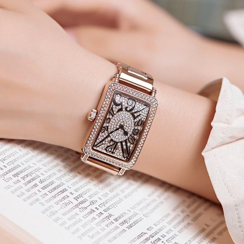 Top luxe dames montre femmes mode Rose or Quartz robe montre nouveau strass décontracté femmes montres 8201
