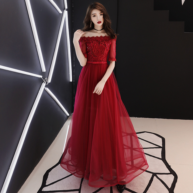 Half Sleeve Robe De Bal Long   Prom     dresses   Burgundy Tulle Appliques Women Evening Party   Dresses