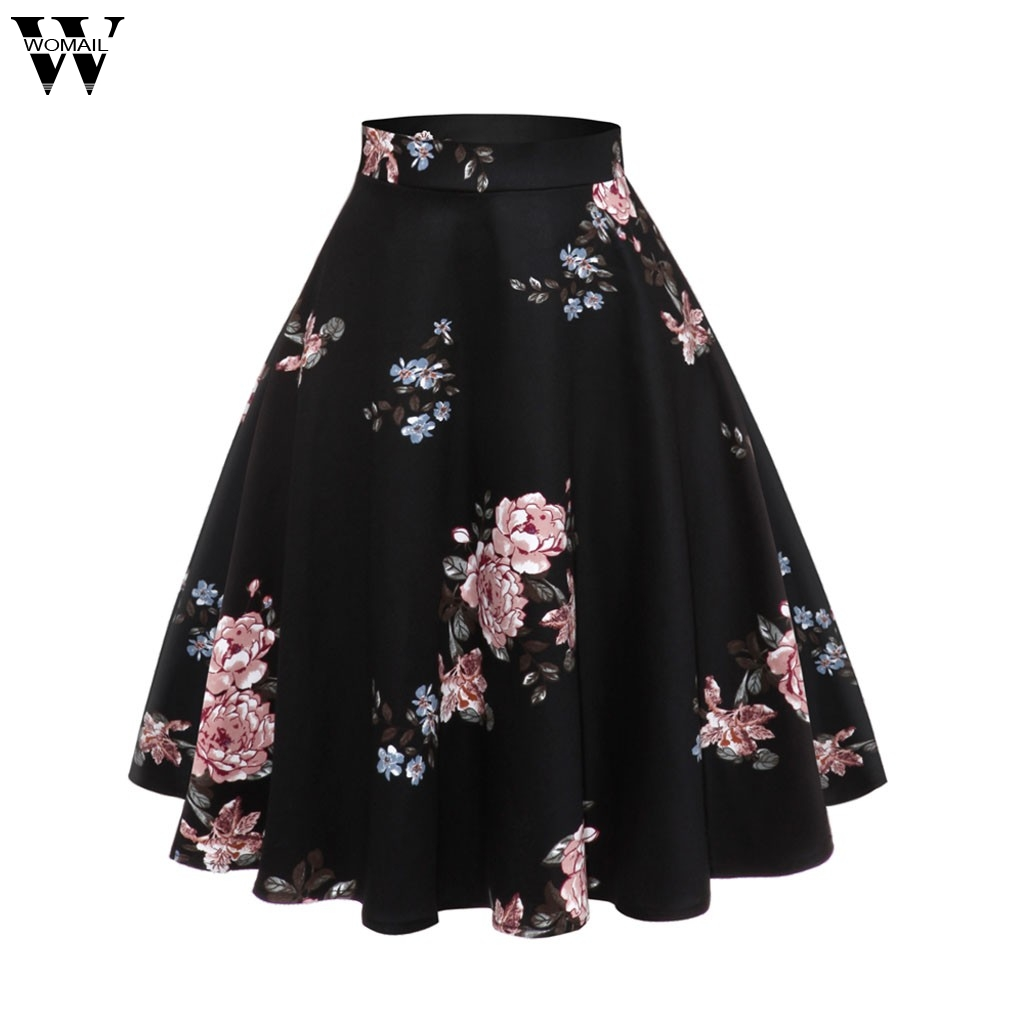 Womail Skirt Women Summer Vintage Printing Gown Casual Evening Party Prom Swing Skirt Fashion NEW  2020  M28