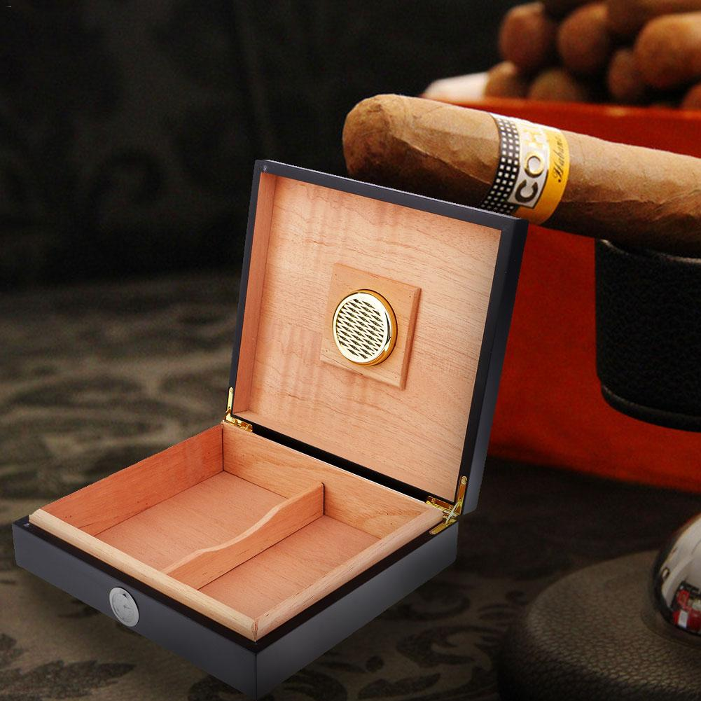 Portable Spanish Cedar Cigar Humidor W/ Humidifier Hygrometer Cigar Box With Moisture Meter Moisturizing Device Case -Black