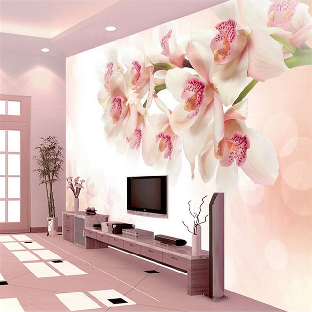 Custom Flowers Wall Papers Photo Wallpaper Embossed Non Woven Modern