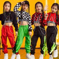 Kinderen Dans Kostuums Voor Jazz Lange Mouw Tops Broek Hip Hop Kleding Meisjes Ballroom Stage Street Dance Prestaties Slijtage DNV11077
