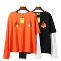 Harajuku Harajuku INS Llama Impreso Fuego Asimetría Loose Bloque Del Color Del Remiendo largo-manga de la Camiseta de Las Mujeres Amantes de la Camiseta Superior de la Señora