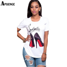 APOENGE poleras de mujer moda 2017 Summer Short Sleeve T Shirts Womens High-heeled Shoes Funny Tees Femme Side Split Tops QN012