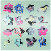 Abstract Painted Flowers Square Scarf Silk Feeling 90cm Scarves Match Apparel Accessory Woman Girl S Add