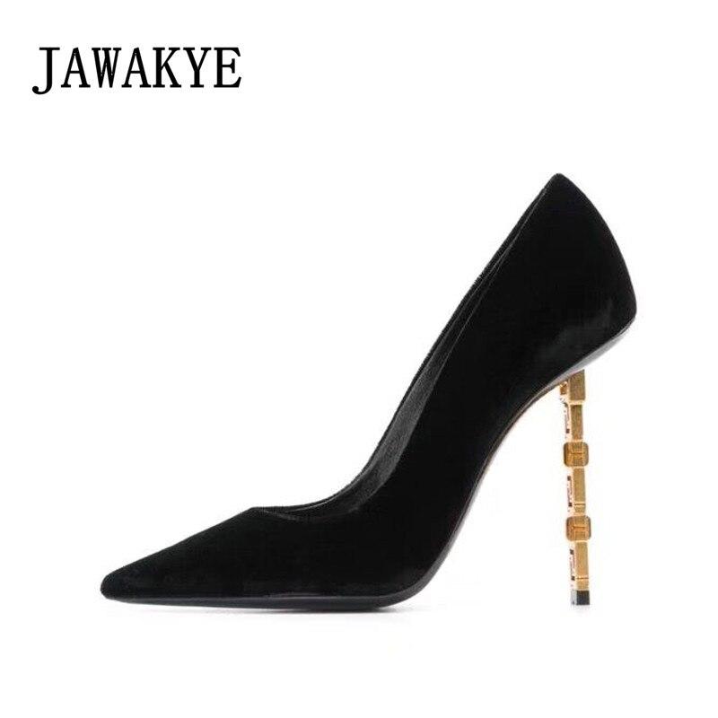 En Dames Mince Pointu Hauts Chaussures Partie Nouveau black Pompes Daim Leather Métallique Suede Talons Noir Patent Sexy Femmes Piste Véritable Cuir Black Bout 2019 FOq5a