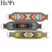 Женский кожаный браслет цветной с кристаллами и геометрическим