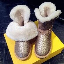 Glossy Rhinestone Snow Boots Women Australia Wool Brand Waterproof Winter Warm Sequined Plush Casual Flats Big Size Botas Mujer