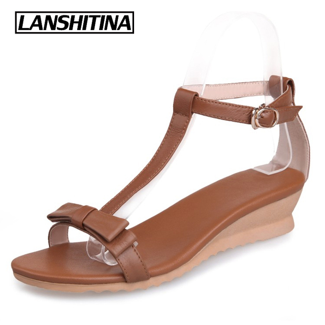 e1c28d737c LANSHIYTINA Women Genuine Leather Wedges Sandals Summer Female Low Heel  Shoes Sandals Women's Sweet Party Quality Bow Shoes G862
