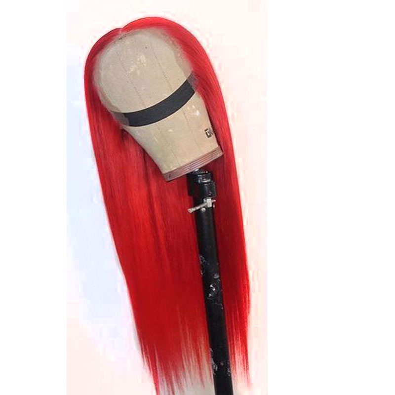 Bombshell Long Straight Synthetic Hand Tied Lace Front Wig Glueless Heat Resistant Fiber Hair Natural Hairline