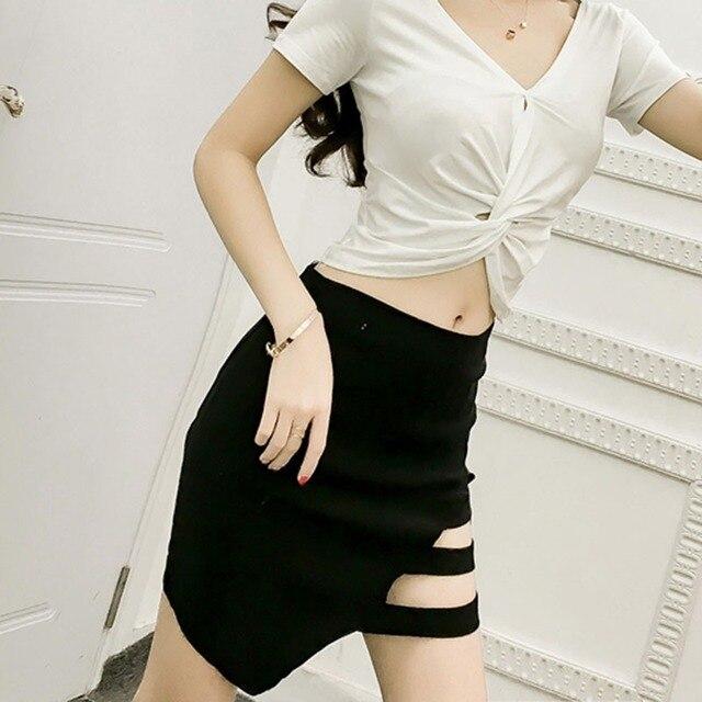 69ae25795d Above Knee Skirt!Korean Style Black Package Skirts Gap Irregular Mini Skirt  Sexy Black Short Skirt
