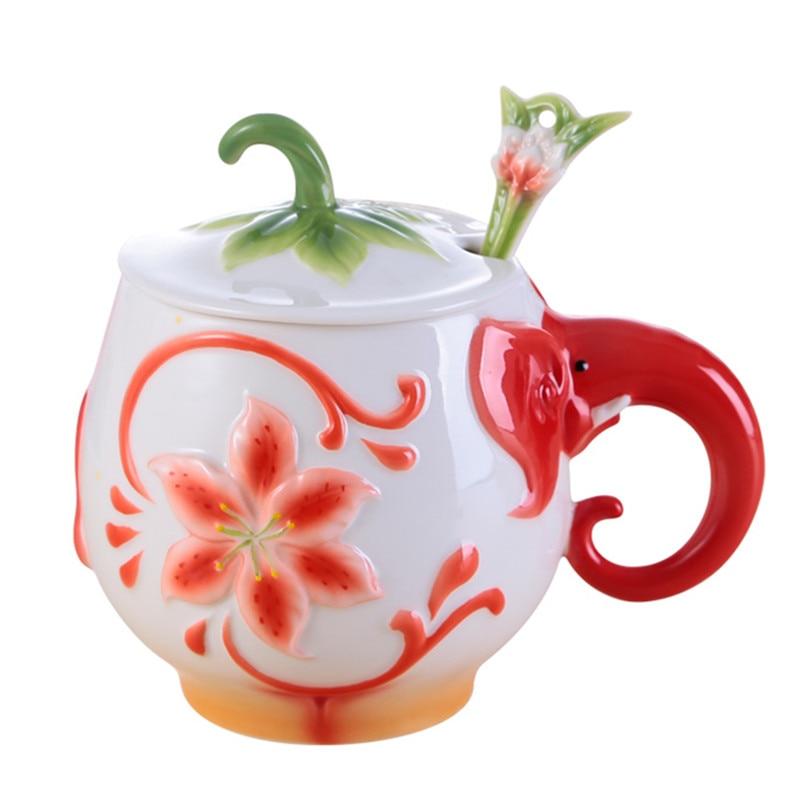 Colored Enamel Coffee Mug Cup Porcelain Elephant Bone China Drinkware With Lid Spoon Creative Lovers Family