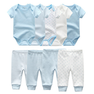 2020 Solid Bodysuits+Pants Baby Boy Clothes Clothing Sets 0-12M Baby Girl Clothes Unisex Newborn Girls Baby Cotton Roupa de bebe(China)