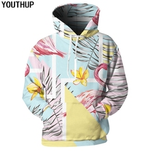 YOUTHUP 2018 Harajuku Hoodies Women Men Hooded Flamingo Print Fashion Floral Sweatshirts 3d Pullover Tracksuit Plus Size