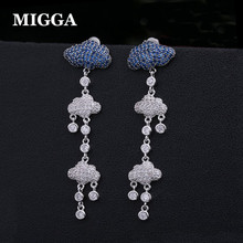 a37fb4ad2 MIGGA New Zirconia Blue Cloud Clear Rain Elegant Earrings for Ladies Party  White Gold Color Long Stud Earrings