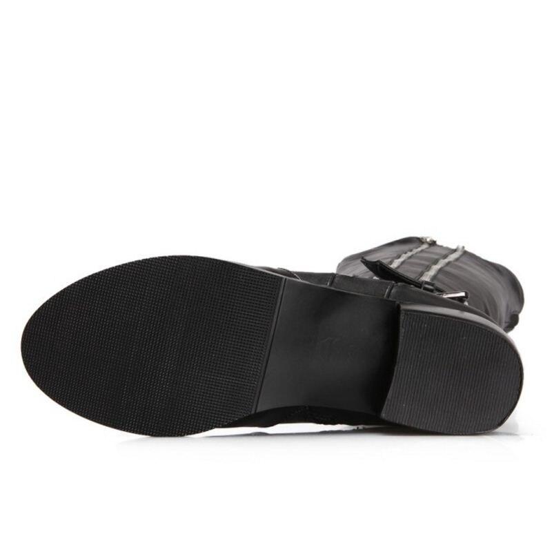Sur 34 Aicciaizzi Femmes Genou Bottes Métal Taille Noir Rétro Glissière De Cuir 39 À Chaussures Véritable En Mode Boucle Fermeture Rivets U7UnwqrC