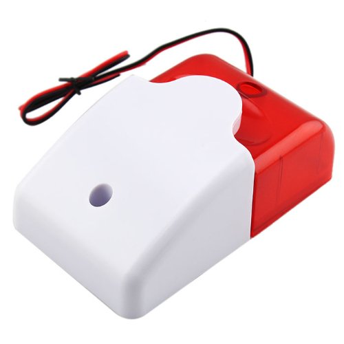 Mini Wired Durable DC12V Sound Alarm Strobe Flashing Red Light Home Security Alarm System 110dB LCC77