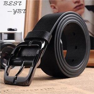 Image 1 - Novo designer de cintos homens alta qualidade marca luxo cinto de couro pino fivela preto negócios cinta de calças cinturones hombre cinto