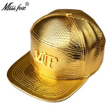 Missfox Hip Hop 18k Vergulde Vip Brief Platte Rand Krokodil Patroon Gold Top Hoeden Caps Mannen(China)
