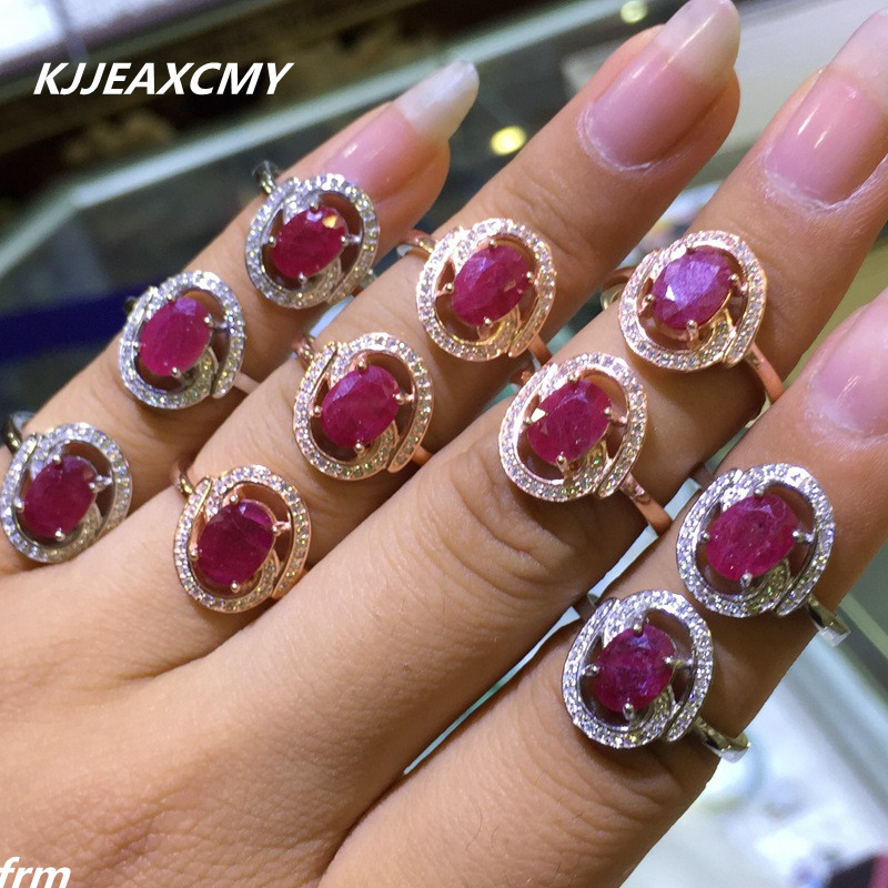 KJJEAXCMY Fine jewelry Fine 1.5 Carat Natural Burma Ruby Women Ring Wholesale 925 Silver Inlay Support Identification