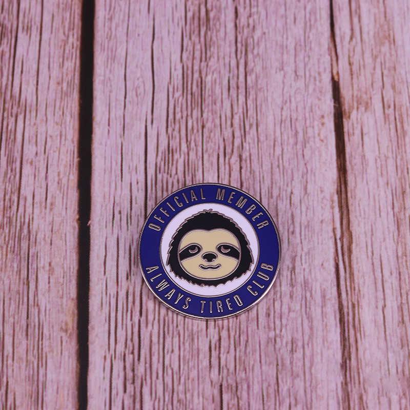 Selalu Lelah Klub Putaran Badge Cute Face Bros Insomnia Sakit Perawatan Diri Pin Lucu Teman Hadiah Ulang Tahun