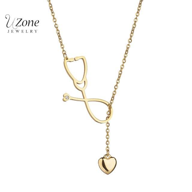 b3c132311ae4 Nueva moda boda corazón Doctor joyería estetoscopio Collar oro Color acero  inoxidable cadena Collar para mujer