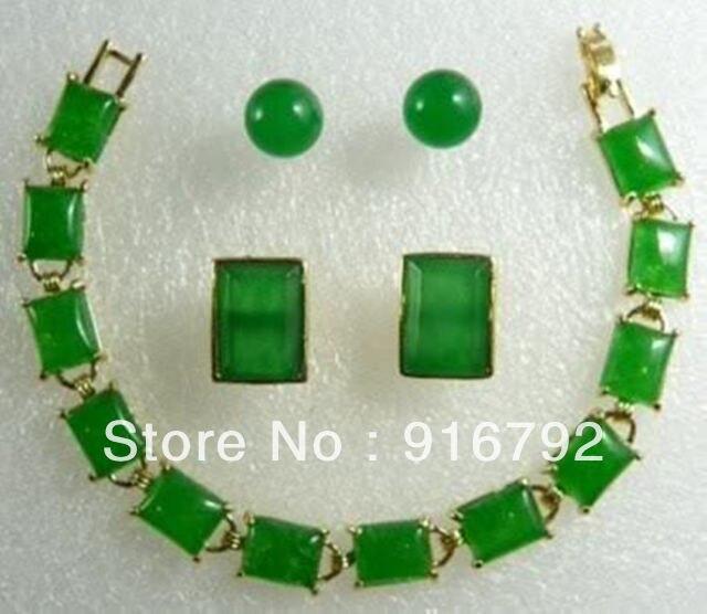 Prett Lovely Women's Wedding Wholesale Charming Green gem pendant bracelet earring Cufflinks set silver jewelry mujer moda