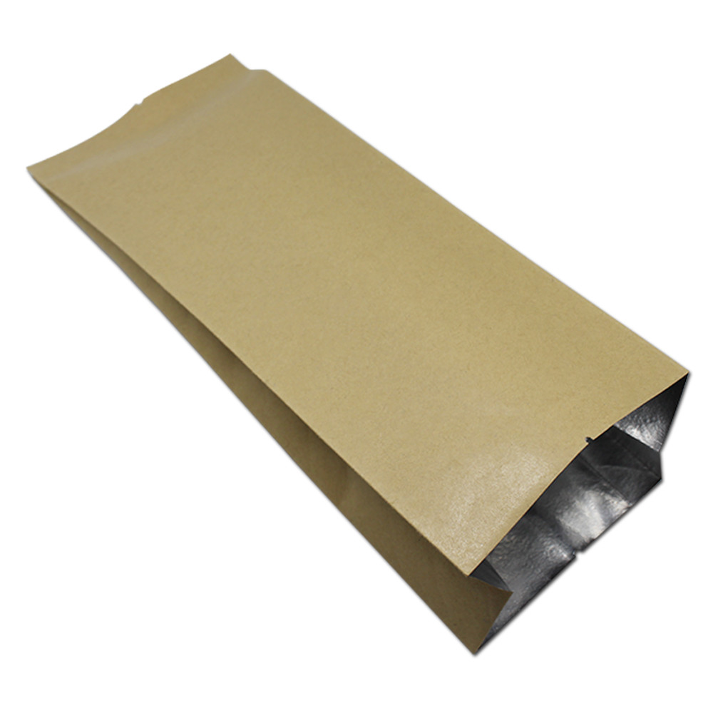 DHL Brown Top Open Aluminum Foil Food Storage Kraft Paper Packing Bag For Tea Coffee Beans Package Heat Sealable Mylar Organ Bag