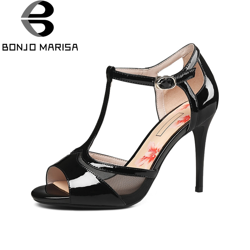 BONJOMARISA 2018 Summer New Arrival Women Patent Cow Leather T-strap Sandals Fashion Mesh High Heels Shoes Woman Big Size 33-40 new arrival black brown leather summer ankle strappy women sandals t strap high thin heels sexy party platfrom shoes woman