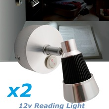 2X12VDC LED Rotate Reading Light Cool/Warm White Bedside Swivel Wall Mount Lights Book interior Lamp RV Caravan Camper Trailer
