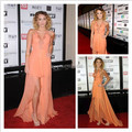Fashionable Off the Shoulder High Low Halter Celebrity Evening Dresses Orange Lace Chiffon Prom Party Dress Cheap