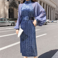 New 2018 Spring Dress Brand Fashion Runway Designer Velvet dress chiffon lanterns sleeve gold velvet dress