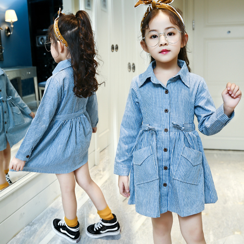 striped big pockets t shirts dresses girls tops clothing mini dress kids fashion child dresses for girls clothing 4 6 8 10 12 Y