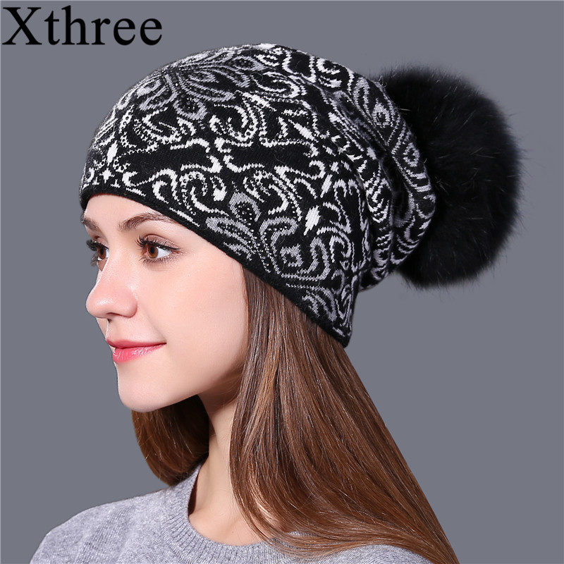 Xthree Warm wool winter Knitted Hat for Women girl Beanie Skullies china style Gravity Falls Cap Gorros fox fur pom pom hat winter hat direct selling man and woman 2017 new fashion warm wool knitted hat korean style winter skullies