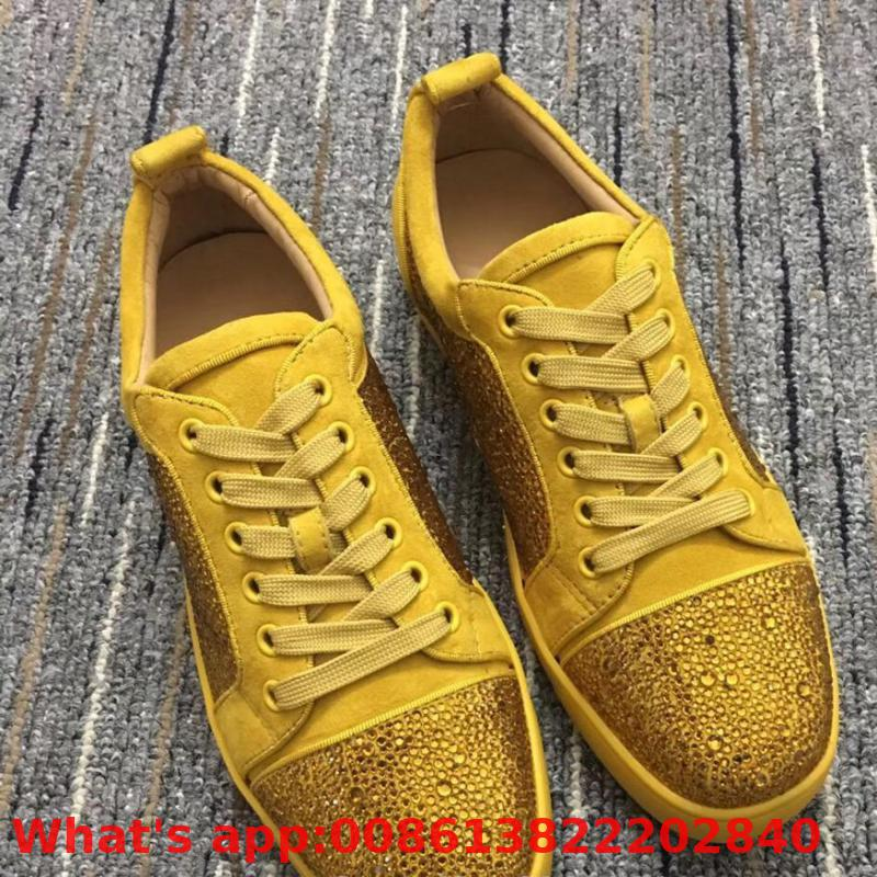 Low Cut Leisure Lace Up Yellow Swarovski Rhinestone Diamond Red Bottoms For Man Shoes Sneakers Leather Flat Loafers(China)
