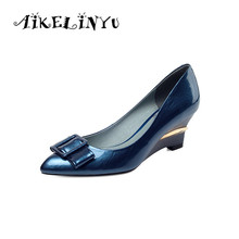 AIKELINYU Women Wedges Black Blue Shoes Fashion Bow Genuine Leather Office & Career Pointed Toe Pumps Autumn