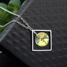 Classic Fashion Square Pendant Necklace & Earrings Women's Jewelry Set