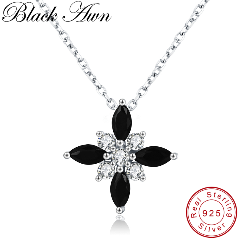Black Awn Romantic New Arrive 925 Sterling Silver Fine Jewelry Trendy Flower Engagement Necklaces & Pendants For Women KK004
