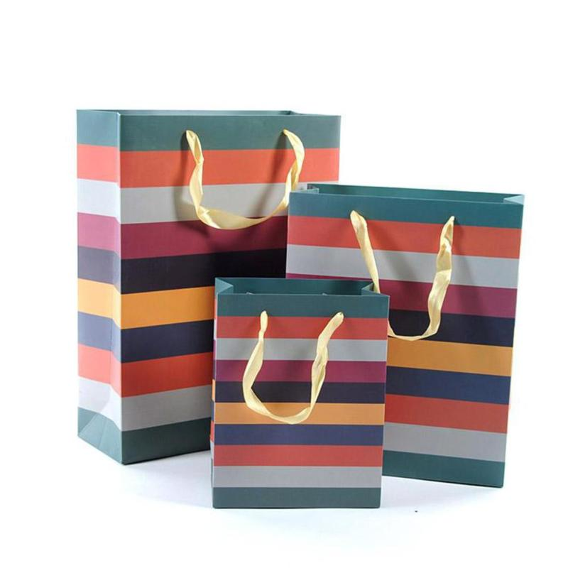 Rainbow printed paper Shopping Bags with Handle Boutique Clothes Gift Packaging Bag paper Shopping Bags Handles