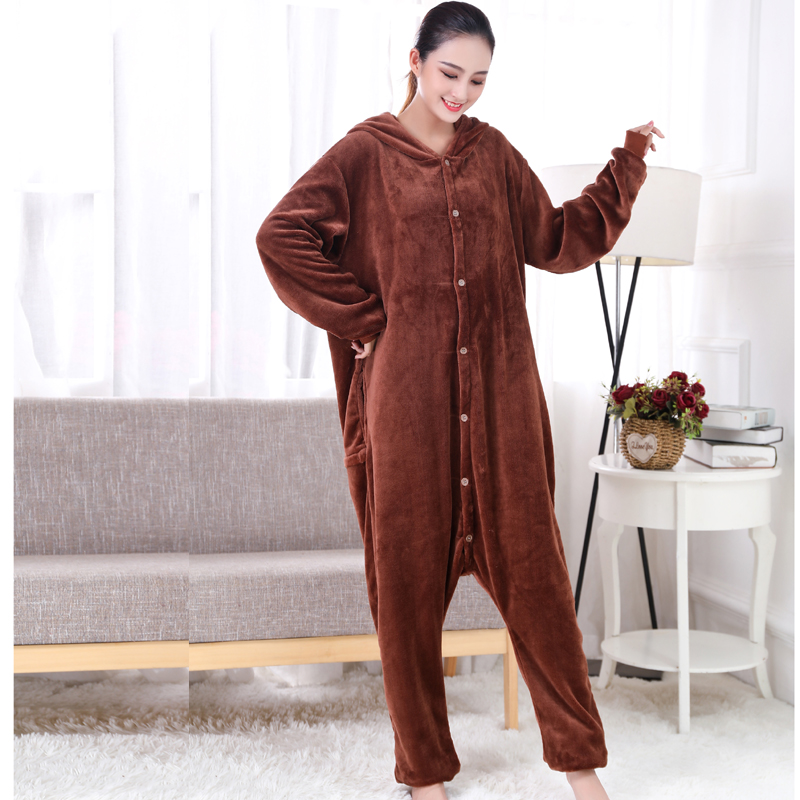 New Brown Teddy Dog Kigurumi Thick Flannel Animal One-Piece Pajamas For Onesie For Adults Cosplay Party Costume Pyjamas Suit (2)