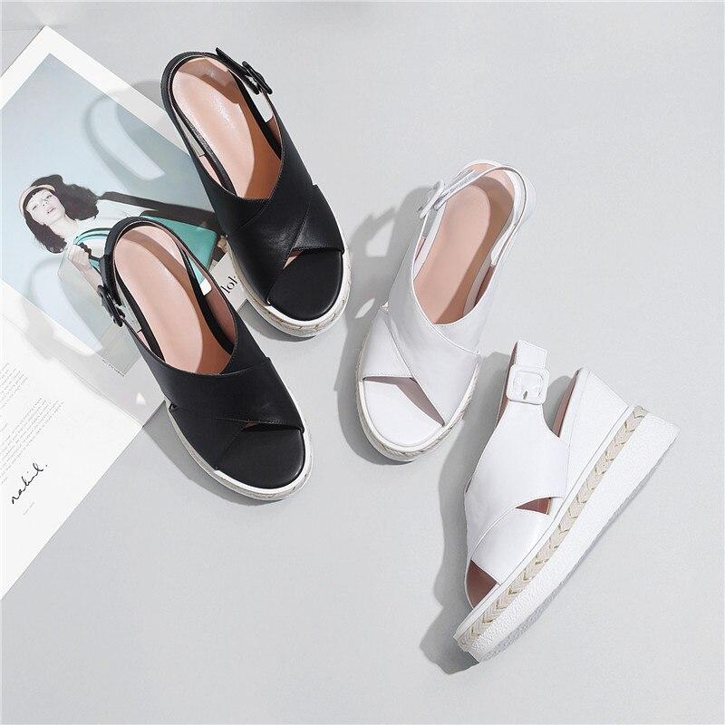 Véritable Femme Plate Appartements Cuir En Sandale 2018 Chaussures Coins Cheville Sandales forme Femmes D'été Noir Sandalias blanc jaune Sexy Talons Sangle Ryvba gWvtwq8w
