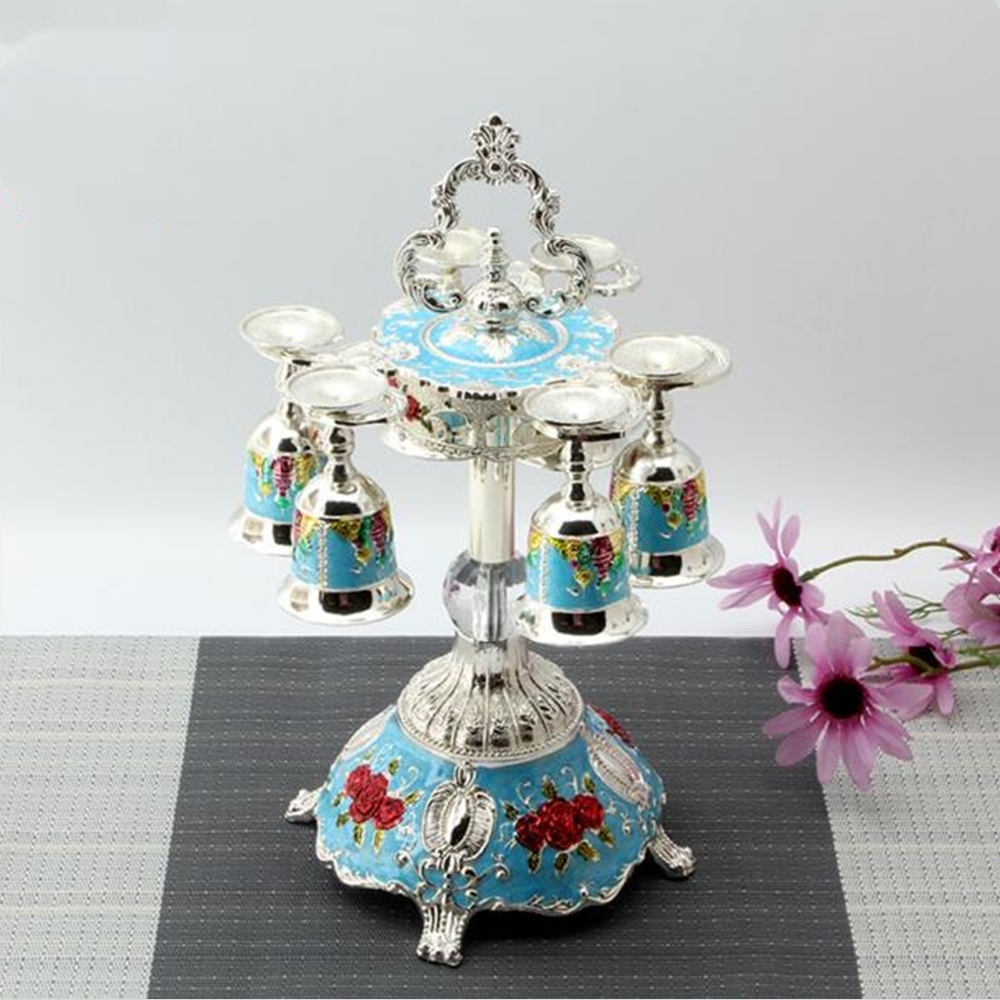 Metal Hanging Sherbet Rack Crystal Sherbet Cup Holder Fashion Exquisit Castle pattern with 6pcs cup table decoration 5 color