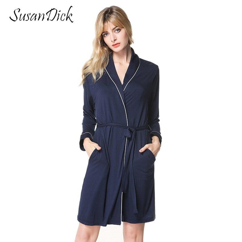 SusanDick mode Robes femmes à manches longues Sexy peignoir mini vêtements de nuit Modal coton Kimono Robe printemps et automne chemise de nuit