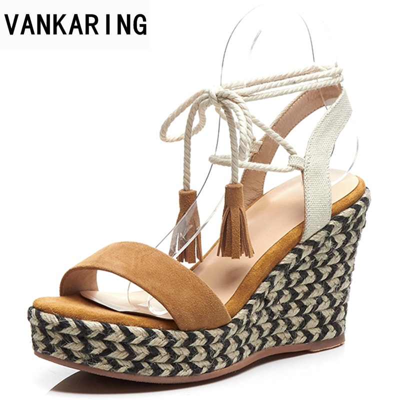 VANKARING ankle strap high heels women sandals fashion ladies platform summer shoes open toe scrub tie wedge straw heel sandals vankaring summer women sandals fashion wedge platform women sandals open toe woman shoes strange style heel wedges casual shoes