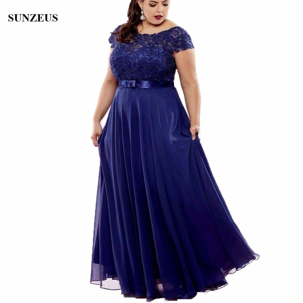 A-ligne Cap manches bleu mère de la mariée robe perlée dentelle femmes robes de soirée longue en mousseline de soie dames robe pour mariage CM035