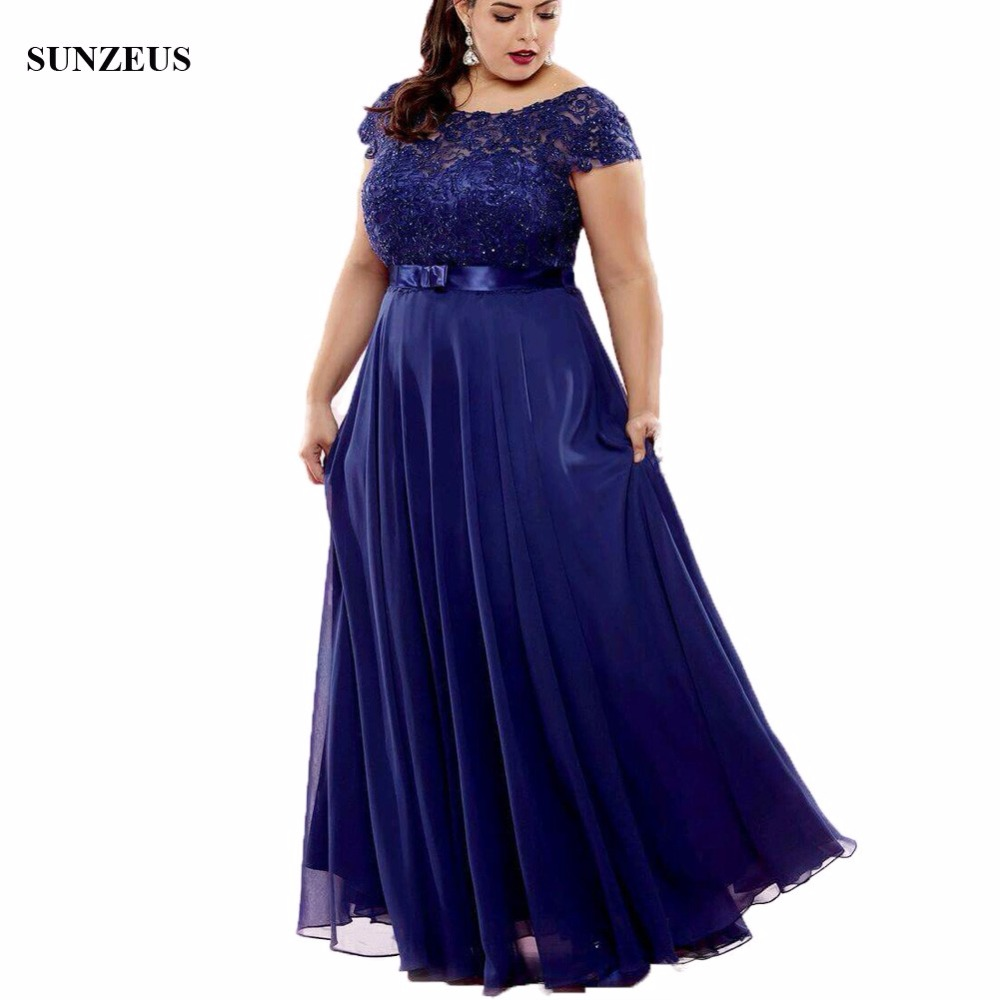 A-line Cap Sleeve Blue Mother Of The Bride Dress Beaded Lace Women Party Gowns Long Chiffon Ladies Dress For Wedding CM035