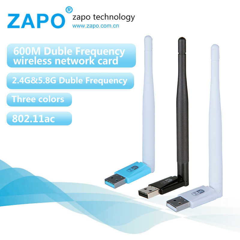 ZAPO 5G WIFI USB adaptateur 600 Mbps double bande sans fil 802.11ac récepteur carte réseau 3.5dbi antenne pour tous les systèmes Windows Linux