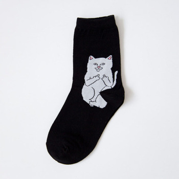 1 Pair Autumn Winter Women Cotton Socks Art Funny Alien Planet Creative Funny Cartoon Cat
